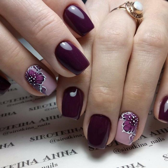 propuesta elegante, diseños de uñas en gel con motivos florales, uñas de longitud media en forma cuadrada
