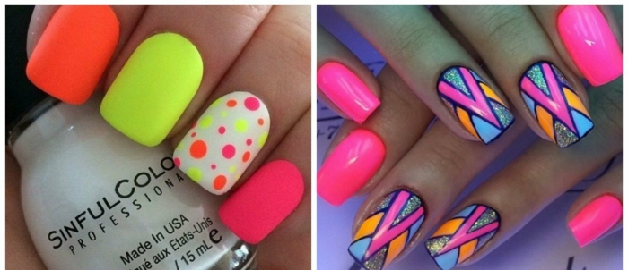 colores chillones en tu manicura para el verano 2018, diseños de uñas en gel en tonos llamativos con dibujos simples