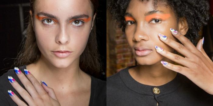 tendencias para la temporada primavera verano 2018 en la manicura, diseños de uñas en gel largas en mas de dos colores