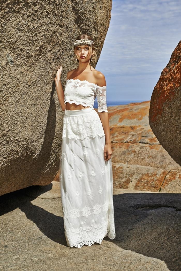 propuesta alucinante de vestido boho de dos piezas, falda de corte princesa de encaje, top de encaje con hombros descubiertos