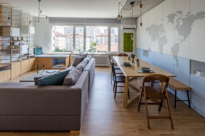 ingeniosa ideas sobre cómo decorar un salón comedor, paredes con vinilo decorativo, sofá de esquina y tonos claros