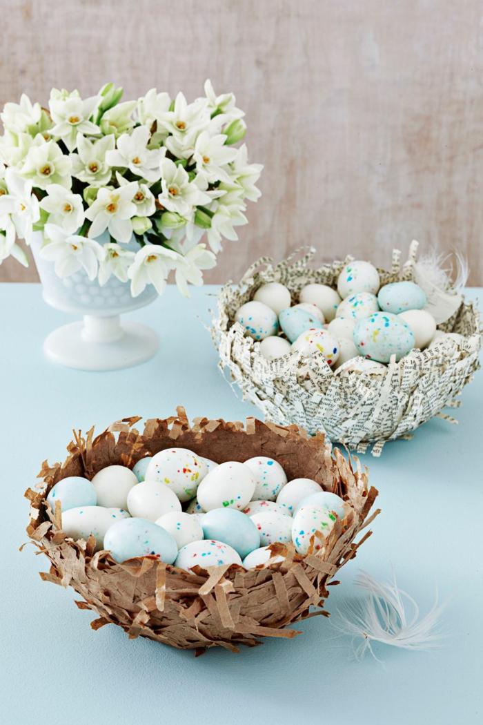 bonita decoración para el hogar con huevos y flores, manualidades huevos de pascua, ideas originales y bonitas