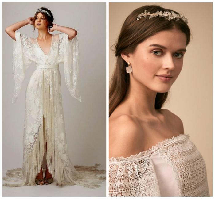dos propuestas de vestidos de novias sencillos, vestido de encaje color marfil con diseño original, tiaras blancas en la cabeza