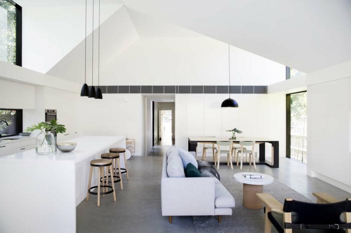 salones abiertos modernos, cocina americana y comedor acogedor, espacio decorado en estilo escandinavo, decoracion de salones modernos
