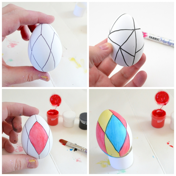 ideas encantadores con huevos de plástico, como hacer huevos de plástico paso a paso, pintura en diferentes colores