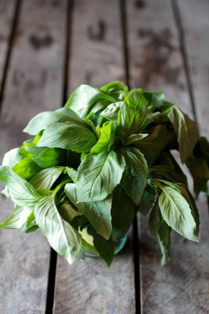 verduras frescas para dar sabor a un plato, hojas de albahacas frescas, ideas sobre como comer quinoa