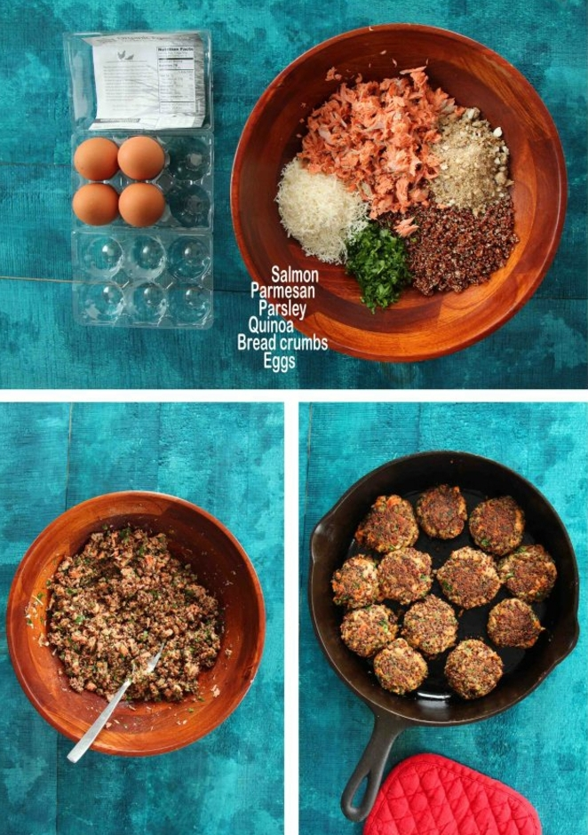 ingredientes y pasos para preparar unas albondigas con quinoa salmón y especies paso a paso, recetas de quinoa ricas
