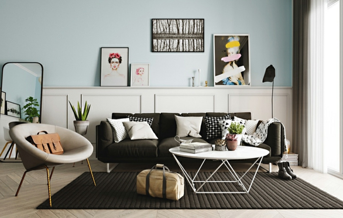 precioso diseño, salon decorado en colores pastel, decoracion de salones moderna y extravagante, paredes en azul grisáceo y decoración de espejos