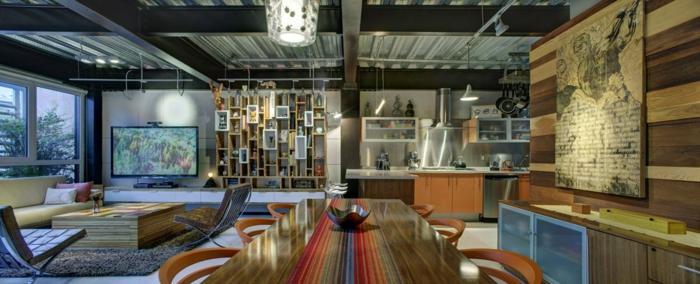 grande espacio decorado de manera extravagante, decoracion de salones comedores en estilo contemporáneo