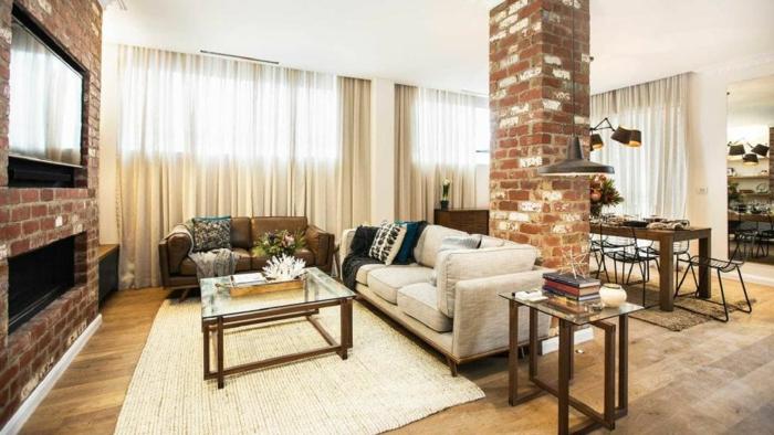 ideas sobre decoracion de salones, salón comedor en colores claros, paredes con ladrillos, pequeño comedor