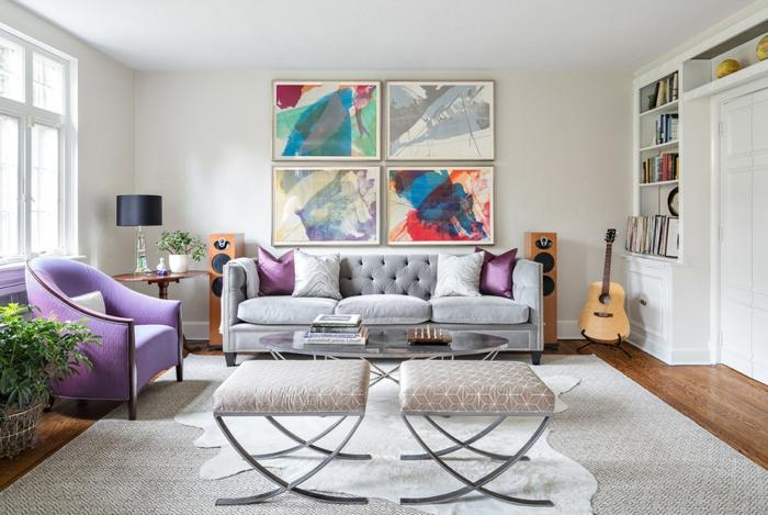 salón de diseño espactacular, muebles en ultravioleta y sofá en capitoné en gris, decoracion de salones con pinturas modernas
