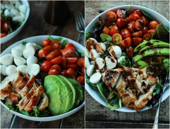 recetas fáciles y sanas ejemplos, ensalada saludable hecha en quince minutos, tomates cherry, mozzarrela, aguacate y pollo