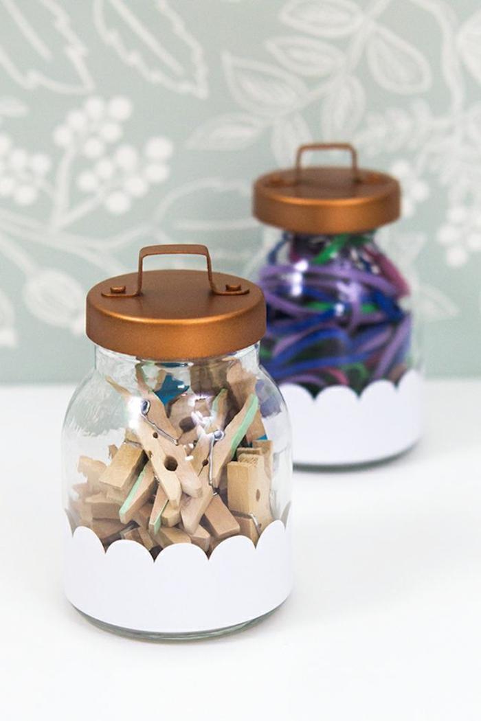caja bonitas hechas de botes de vidrio, ideas de manualidades con tarros de cristal paso a paso