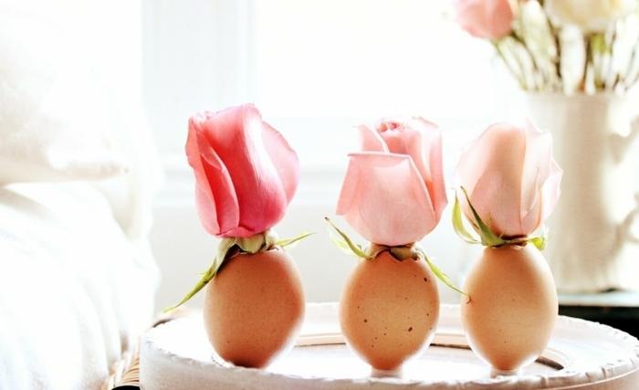 ideas originales sobre manualidades huevos de pascua, huevos de pascua vacíos decorados con flores de rosa