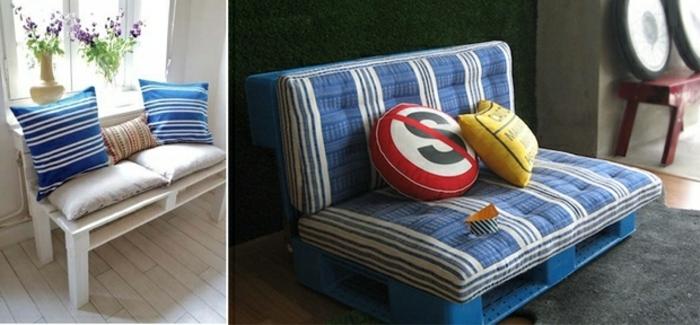 muebles de palets fáciles de hacer, bonita decoración con palets. dos bancos de palets con colchonetas bonitas en rayas