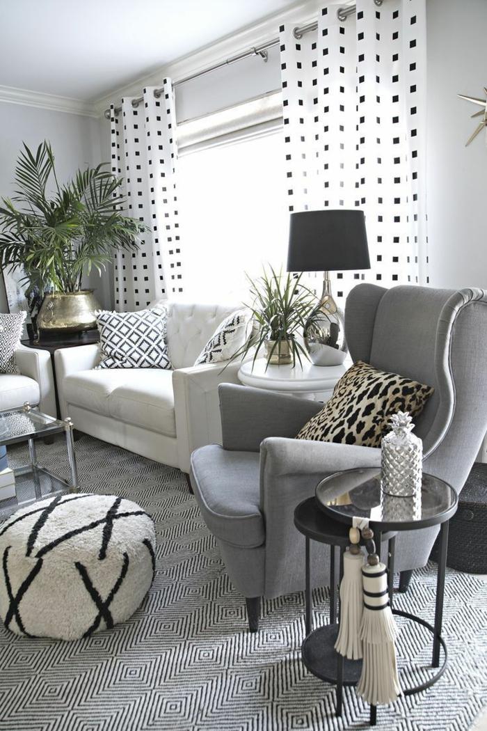 espacio elegante en estilo moderno con toque vintage, muebles y objetos decorativos con patrones en blanco y negro, bonitas ideas decoracion salon
