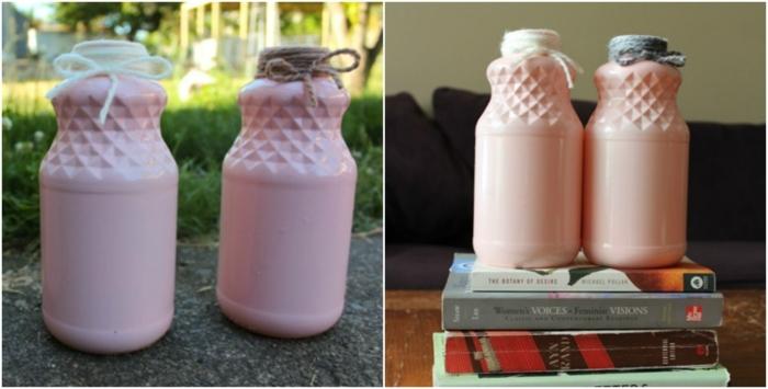 ideas sobre como decorar botellas de vidrio, botellas pintadas en rosado con bonita decoración de hilo en diferentes colores