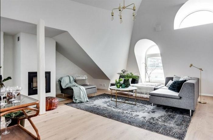 precioso salón de diseño particular, paredes en blanco y muebles en gris, decoracion salones ideas