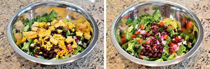 variantes de recetas de cocina casera gratis paso a paso, ensalada rica con verduras, pollo y maíz