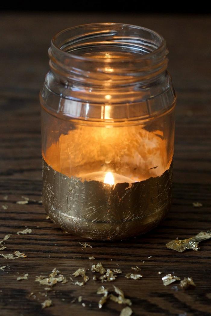 bonita decoracion con frasco de vidrio, tarros de cristal decorados paso a paso, idea para decorar el hogar DIY