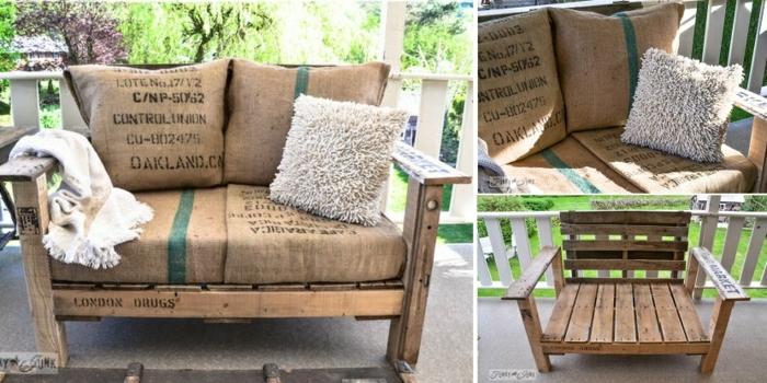 decoración DIY para la terraza, bancos de palets decorados de sacos de café, muebles de palets fáciles de hacer