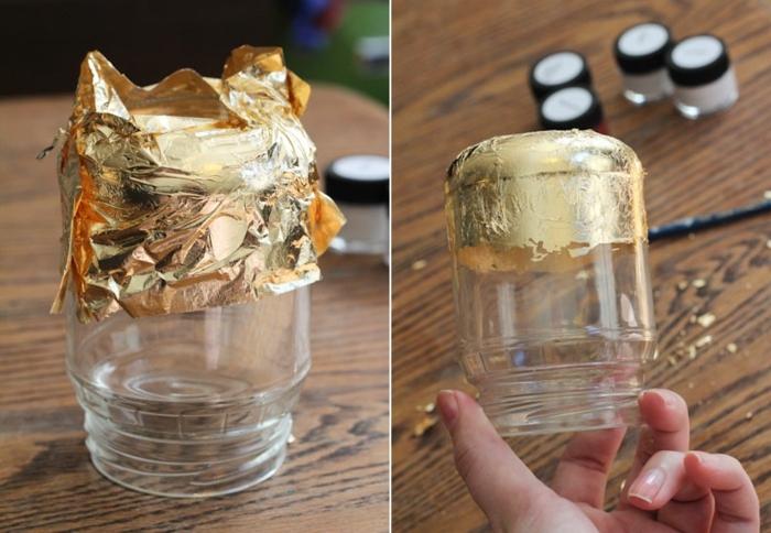 tarros de cristal decorados con papel aluminio en dorado, ideas fáciles con frascos de vidrio, bonita decoración casera