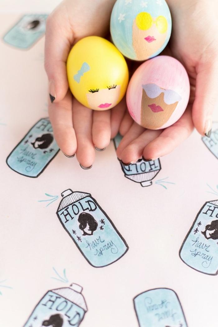 ideas originales y divertidas manualidades huevos de pascua, huevos pintados en colores claros y pasteles con dibujos de caras