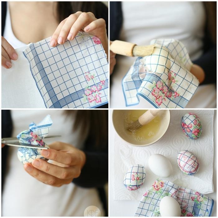bonita idea sobre como hacer huevos de pascua, decoración original con servilleta en motivos florales paso a paso