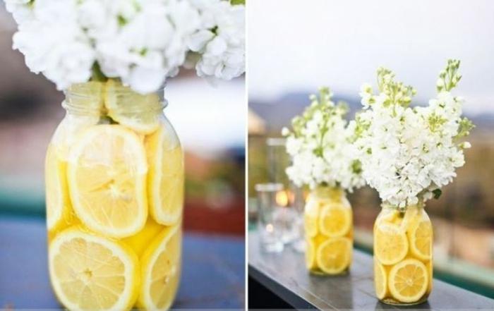 frascos de cristal llenos de limones, jarrones DIY de encanto, decoración casera fresca y original para decorar tu hogar