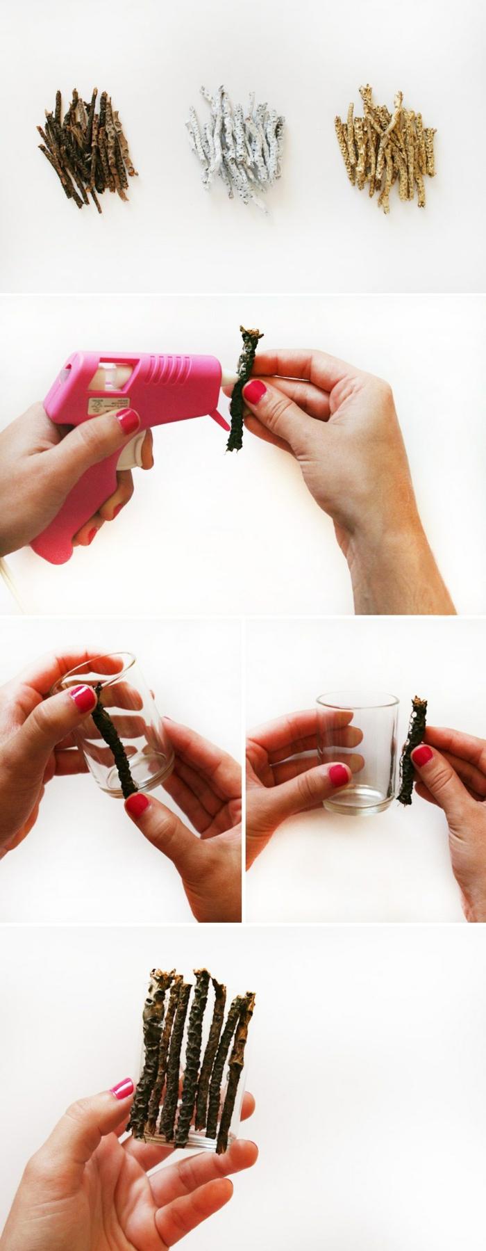 pasos para hacer unas porta velas decorativas de tarros decorados con palos de madera en diferentes colores
