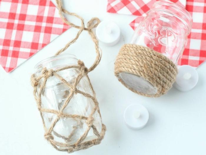 decoración sofisticada con frascos de vidrio e hilo, linternas casera hechas de botes decorados paso a paso