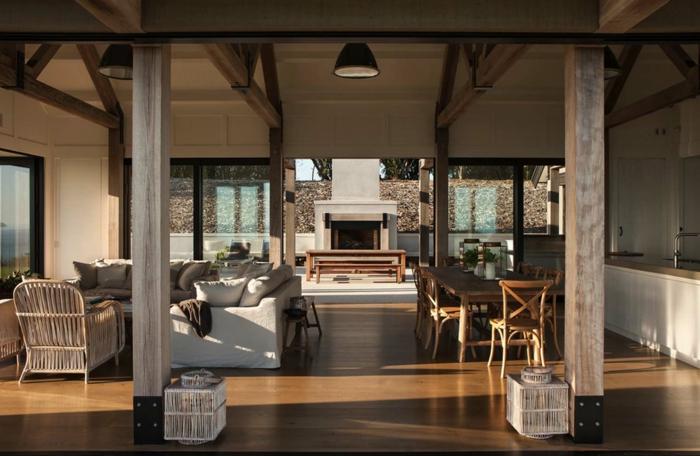 grande piso con todo en uno, decoracion salones con comedores, interior en beige con muebles sencillos y funcionales