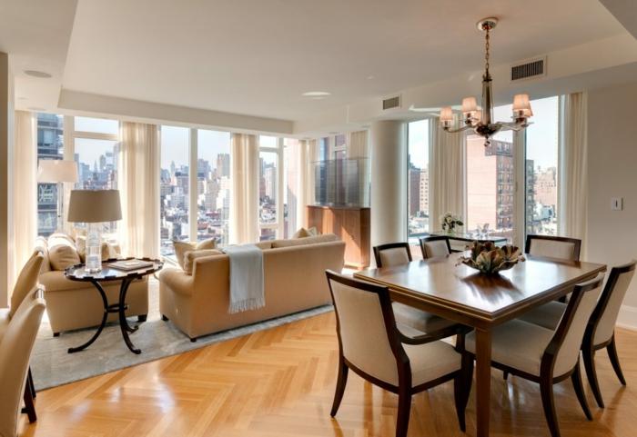 espacio de encanto con grandes ventanales, ikea decoracion en beige, comedor decorado en estilo clásico abierto al salón
