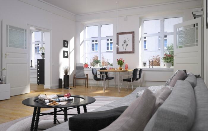 luminoso salon decorado en colores claros con muebles en gris, salones pequeños en estilo moderno, salon comedor bonito