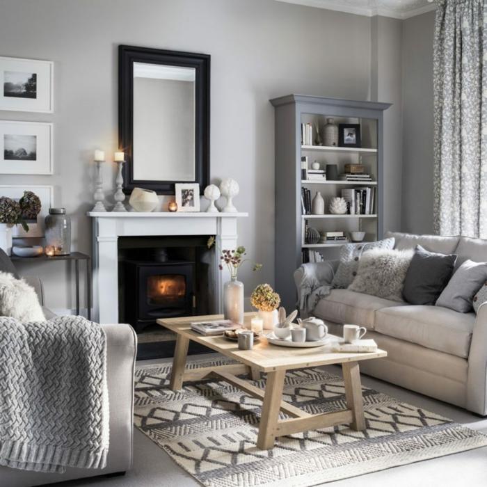 salones pequeños acogedores decorados en gris y blanco, paredes grises y muebles en blanco y beige