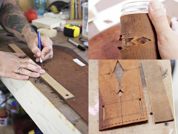 pasos para elaborar un porta vasos de piel con ornamentos, preciosas ideas de como decorar botellas de vidrio y botes