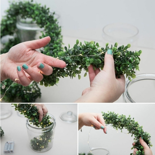 pasos para elaborar unos bonitos tarros decorados con bombillas, decoración hecha a mano paso a paso