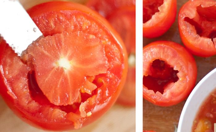 como cortar los tomates para hacer tomates con relleno, ideas para preparar una ensalada de quinoa receta original