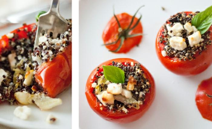 ensalada de quinoa receta fácil y sana, tomates cherry con relleno de quinoa negra y queso paso a paso