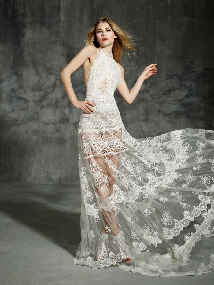 preciosa propuesta vestido de novia hippie, vestidos largos hippies de encaje, falda transparente