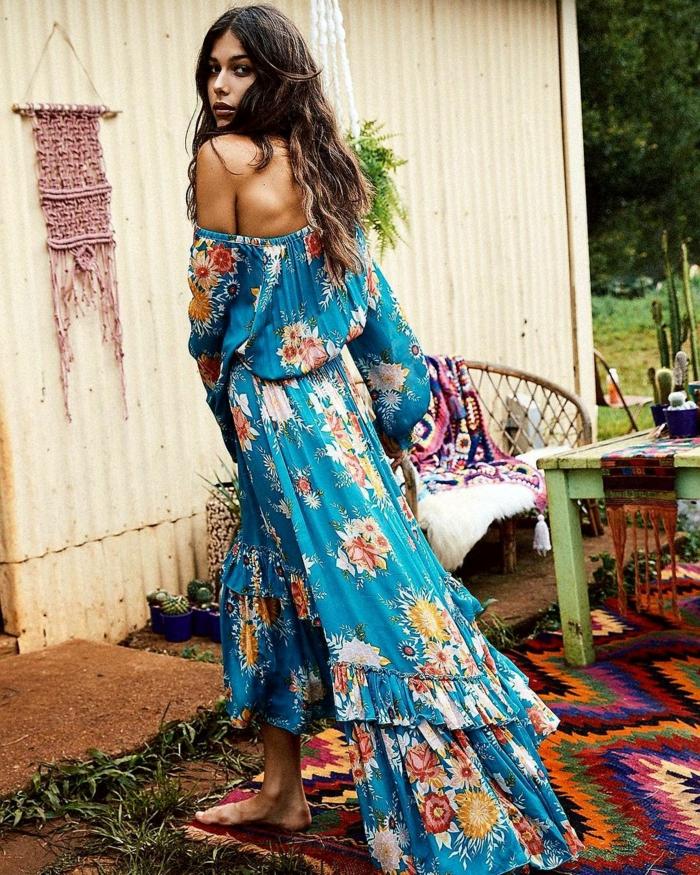 propuesta encantadora vestidos largos hippies, vestido con mangas sueltas y hombros descubiertos, falda en capas en motivos florales