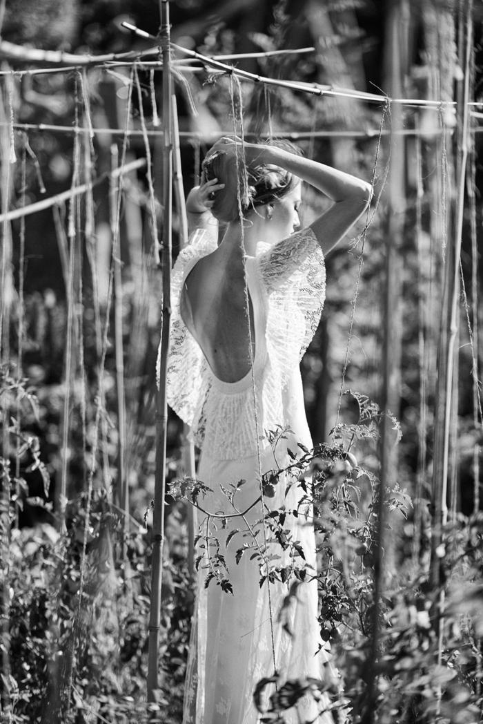 diseño de vestido de novia alucinante con espalda descubierta, vestidos hippies de encaje en estilo flamenca