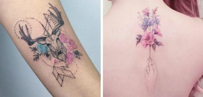 ideas de tatuajes antebrazo mujer y tatuaje en espalda, dibujos con acuarela, diseños bonitos y originales