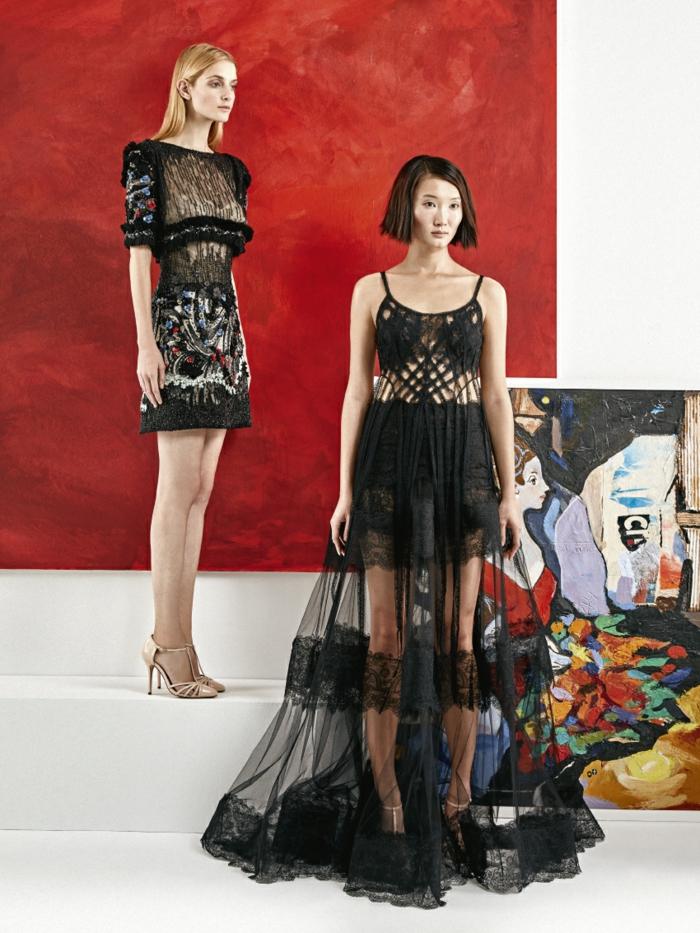 ejemplos extravagantes vestido boho, dos vestidos en negro en estilo bohemio, larga falda semitransparente con partes de encaje