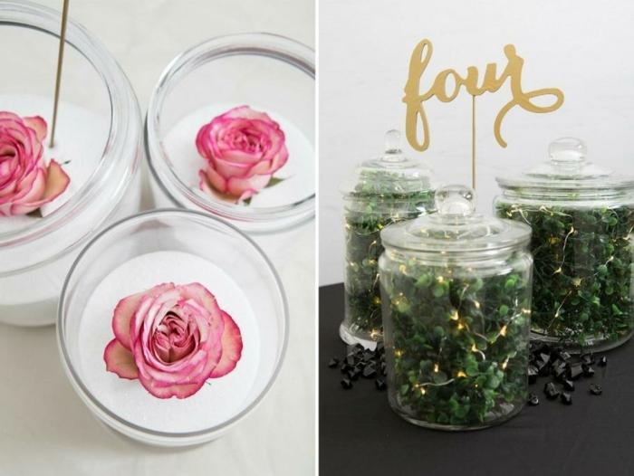 diferentes maneras de decorar frascos de cristal, tarros decorados con flores y plantas verdes artificiales, decoración DIY facil de hacer
