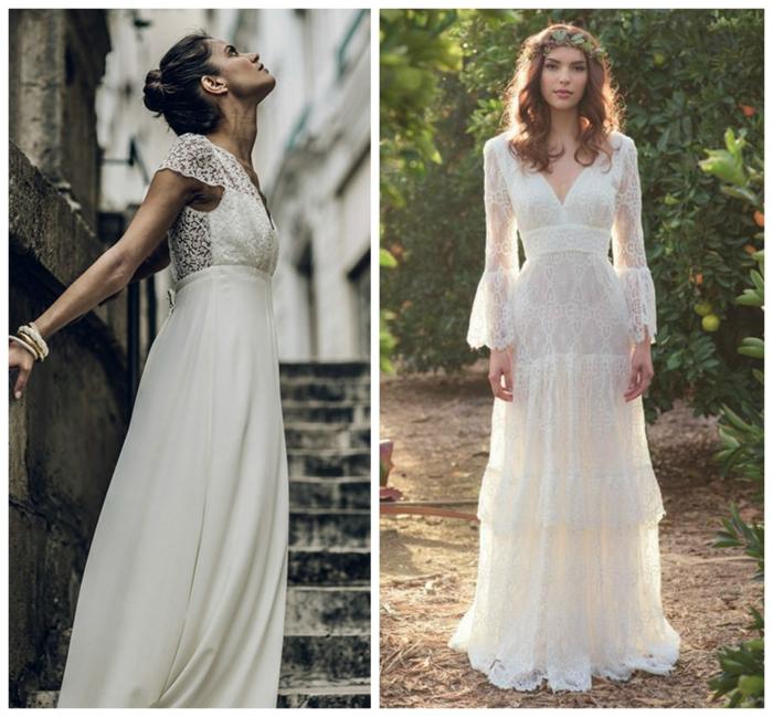 dos variantes de vestidos hippies con partes de encaje, vestidos hippies en blanco, pelo recogido en moño, cabello suelto con tiara