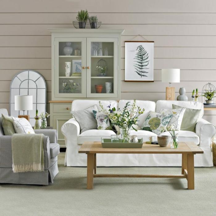 ideas decoracion salon comedor, decoración de espacios abiertos en blanco, gris y colores pastel, elementos botánicos