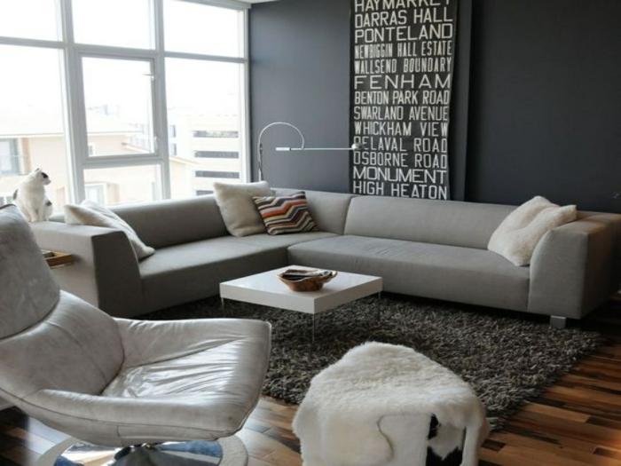 epacio decorado en tonos oscuros, decoracion salon comedor en gris y blanco, muebles de diseño y decoración moderna