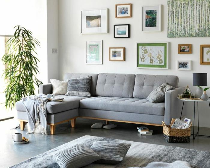 salón con mucha decoración en estilo bohemio, plantas verdes y detalles de mimbre, decoracion salon comedor en gris y blanco