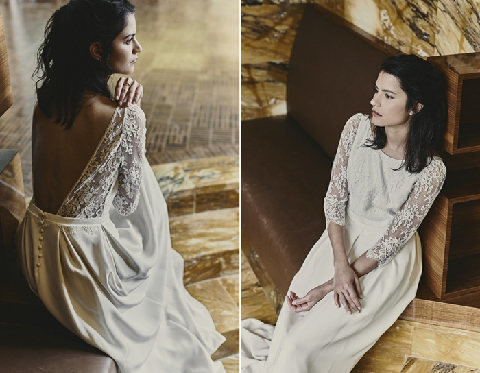 propuesta romántica con espalda descubierta, mangas largas de encaje y falda larga de satén color blanco perla